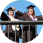 graduates on bridge